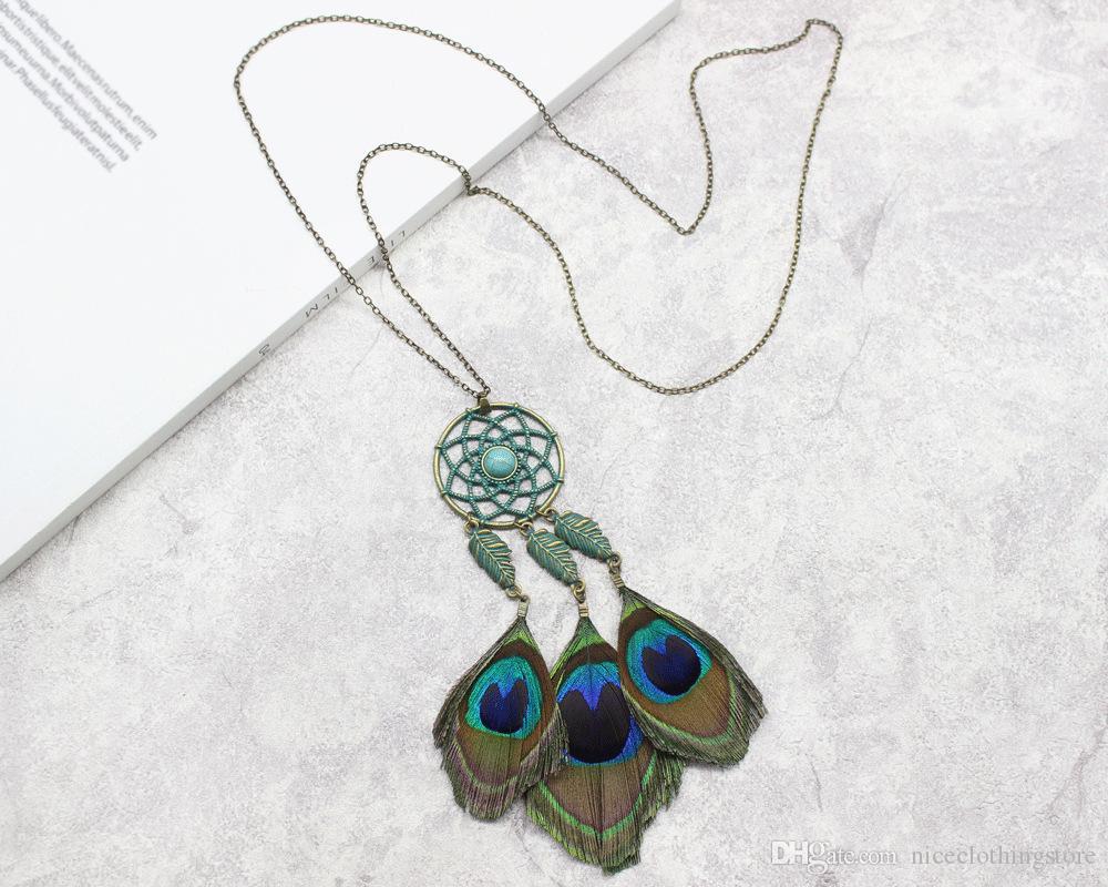 Богемия павлинье перо ожерелье зеленый металл Ловец снов камень оставить длинный кулон ожерелье для женщин мода Boho подарок ювелирных изделий