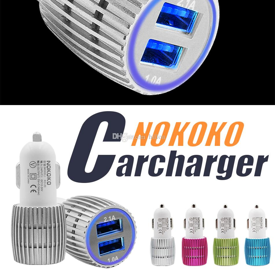 NOKOKO Best Metal Dual USB Port Car Charger Universal 12 Volt 1 ~ 2 Amp For Apple IPhone IPad IPod Samsung GalaxyHtc Power Bank Black Cell Phone