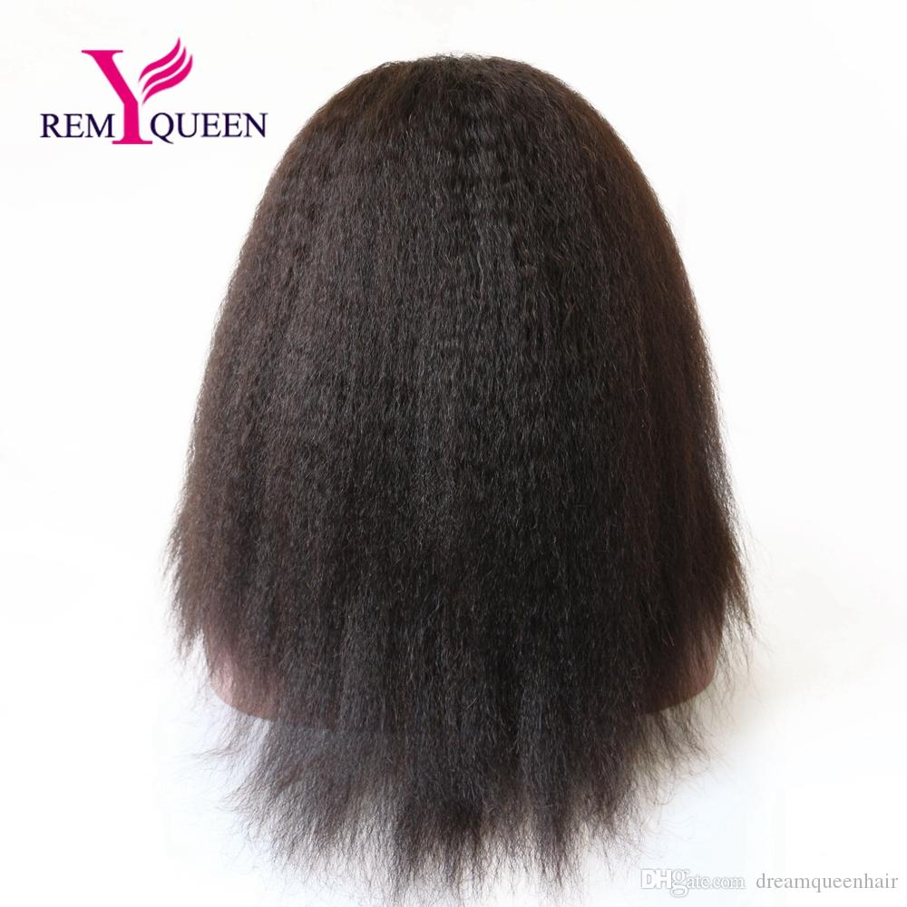Dream Remy Queen Human Hair Kinky Straight Full Lace Wig 130% Density Swiss French Lace Cheaper Price