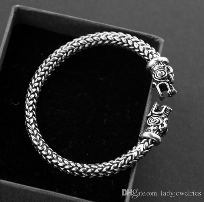 Bracelet de loups vikings Wicca Amulette Solomon Bijoux païens Viking Pagan Gothic Wolf Head Bracelet en étain Films de bijoux nordiques Totem Bracelet
