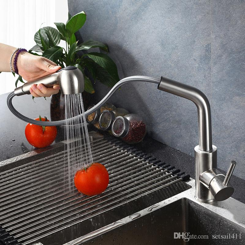 2019 Pull Out Kitchen Faucet Brushed Kitchen Mixer Water Tap Single