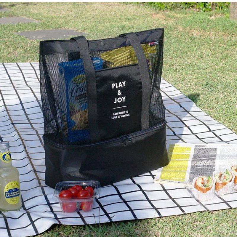 eb1e6e404541 NIBESSER Simple Functional Bag Women Men Shopping Bag Half Transparent Mesh  Shopper Tote Portable Cooler Large Shoulder Bags Shopping Bags Cheap  Shopping ...