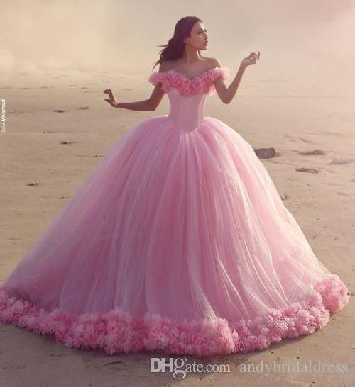 2019 Pink Ball Gown Quinceanera Dresses 3D Hand Made Flowers Off Shoulder Sweet 16 Plus Size Princess Tulle Cheap Masquerade Prom Gowns
