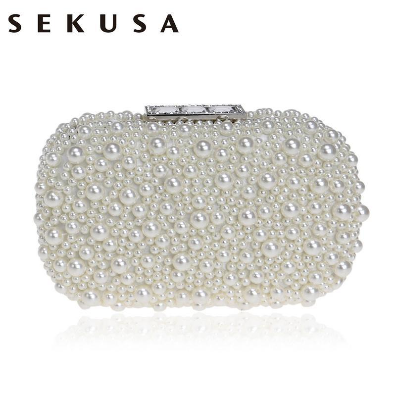 SEKUSA Beaded Women Evening Bag Crystal Party Evening Clutch Bag Pearl  Shoulder Small Phone Key Holder Box Evening Bags Gold Clutch From Dealbag 1edffa3d9e85