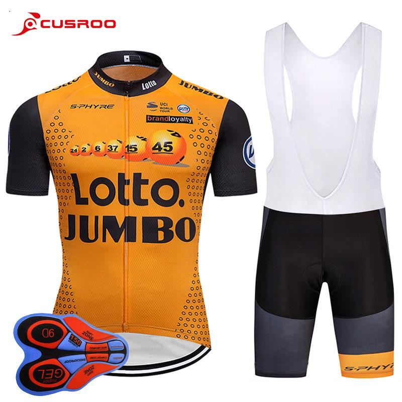 UCI Pro Team YELLOW LOTTO Cycling Jersey 9D GEL PAD Bike Shorts Set ... d5b470fb3