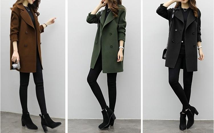 newest d36b8 3dd0c Winter Herbst Mantel lange dünne Oberbekleidung beiläufige Wollmantel  Frauen Jacke-J6JVJC