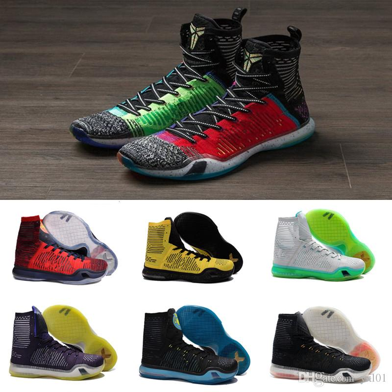 17aa3a68fa4d What The Kobe 10 High Multicolor Weaving Men S Basketball Shoes For KB 10s  Elite Wolf Grey Green USA AAA+ Quality Sports Sneakers Size 40 46 Sneakers  Men ...
