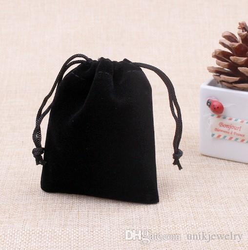 74e8f177d9c8 Velvet Jewelry Pouches 5x7cm Black Gifts Bags String Jewelry Bags ...