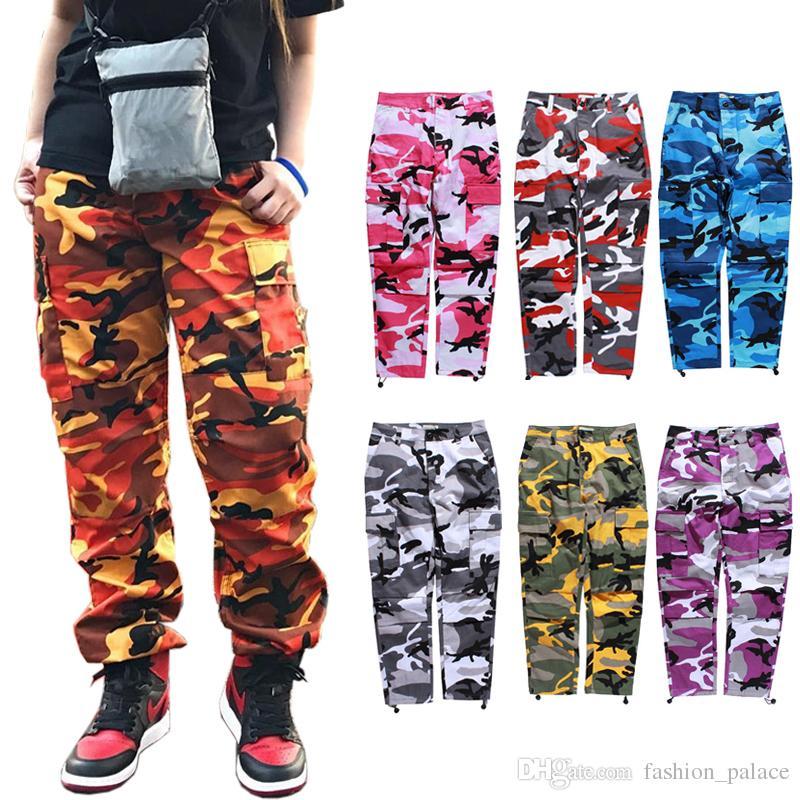 Compre Nueva Moda Camo Cargo Pantalones Mujer Hombre Joggers Pantalones De  Chándal Justin Bieber Hiphop Streetwear Pantalones De Camuflaje Militar ... ef7fd1cee78