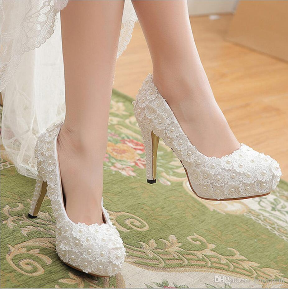 2018 White Lace Wedding Bridal Shoes 11.5cm Beautiful Vogue Lace Pearl  Crystal High Heels Wedding Pumps Shoes For Wedding Bridal Accessories Bride  And Groom ... 1b917baa54b7