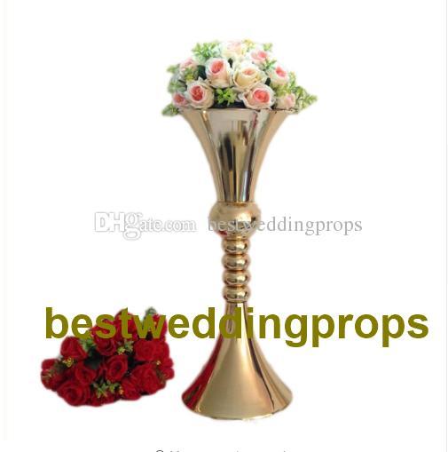 H65cmsilvergoldwhiteblack Plated Trumpet Mental Vases Arrange