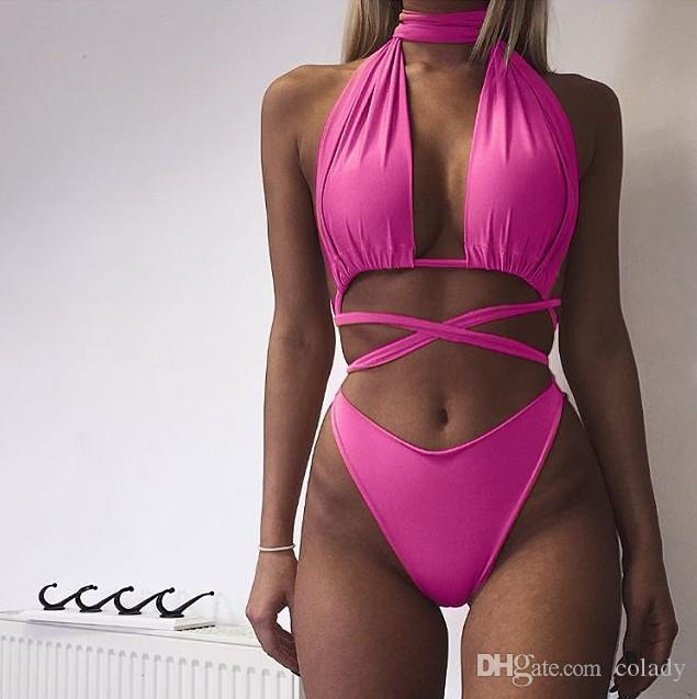 2018 Europe and the United States sexy strap Halter two-piece swimsuit bikini women
