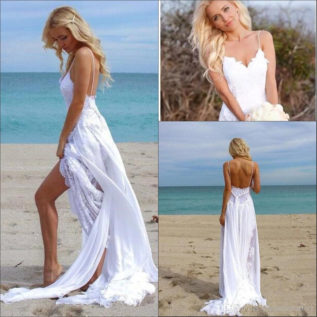 Beach Wedding Gown: 2018 Bohemia Sheath Summer Beach Wedding Dresses Spaghetti