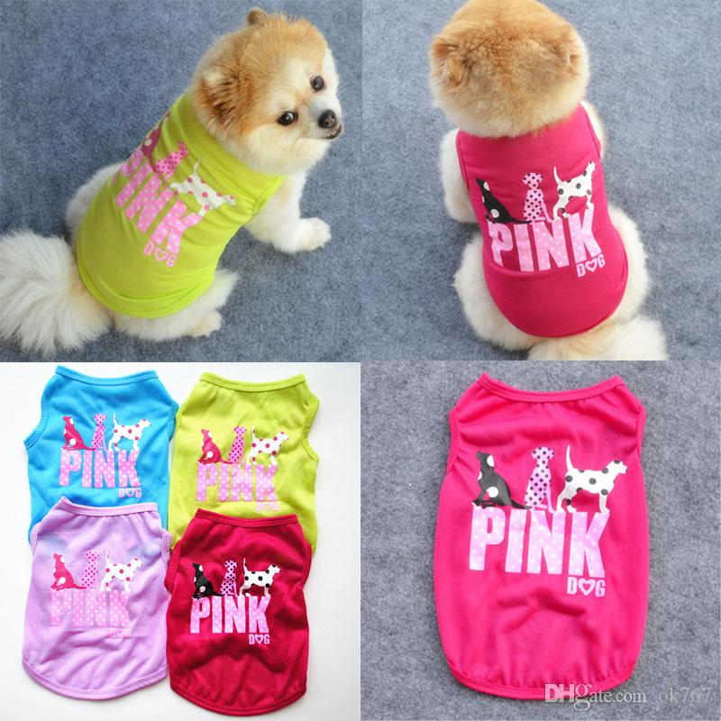 8cfe4a96cced New Pink Letter Dog Vest Fashion Clothes for Puppy Summer Pet Waistcoats  Dogs T Shirt Dog Vest Dog Apparel Pet Supplies Online with  2.08 Piece on  Ok767 s ...