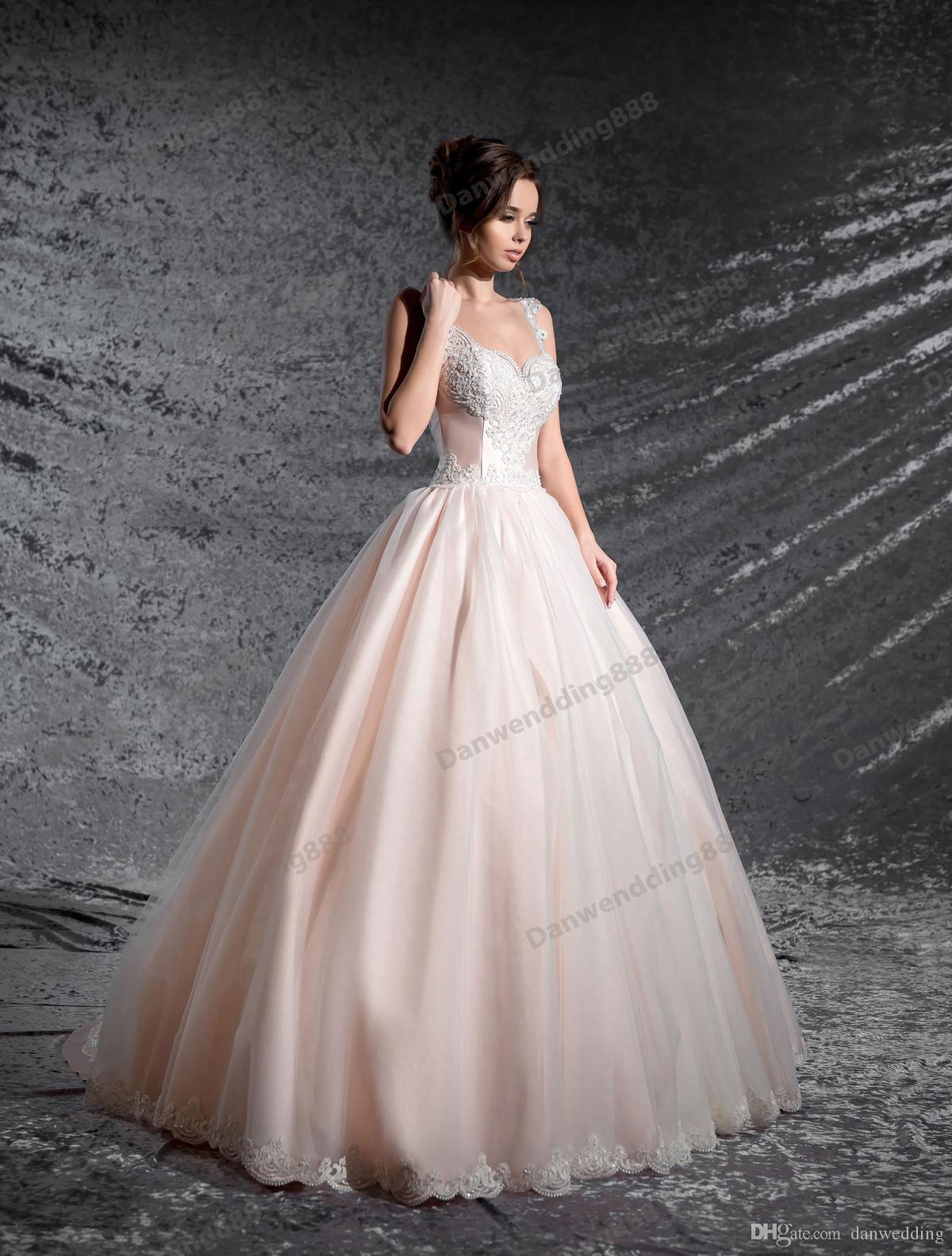 Beauty Pink Champagne Tulle Scoop Applique A-Line Wedding Dresses Bridal Pageant Dresses Wedding Attire Dresses Custom Size 2-16 ZW607020
