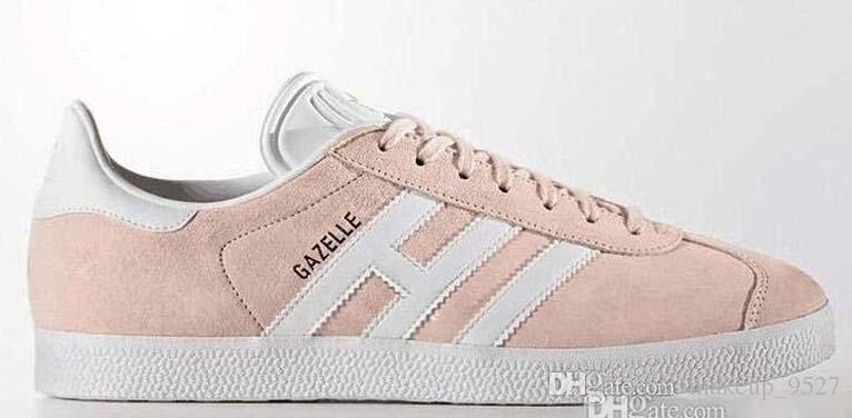 Nouveau Top Qualité 2018 Hommes Femmes Casual Daim Cuir Gazelle Blanc Rose Noir BLEU ROSE Léger Classique Chaussures size36-45 grande taille