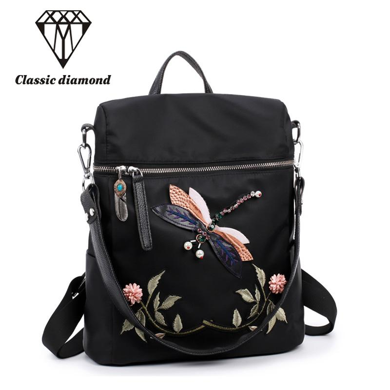 f6fe1a3effaa Dual Use Embroidery Women Small Backpack 2018 Fashion Waterproof Nylon  Shoulder Bag Floral Travel School Bag For Teenage Girls School Bags  Messenger Bags ...