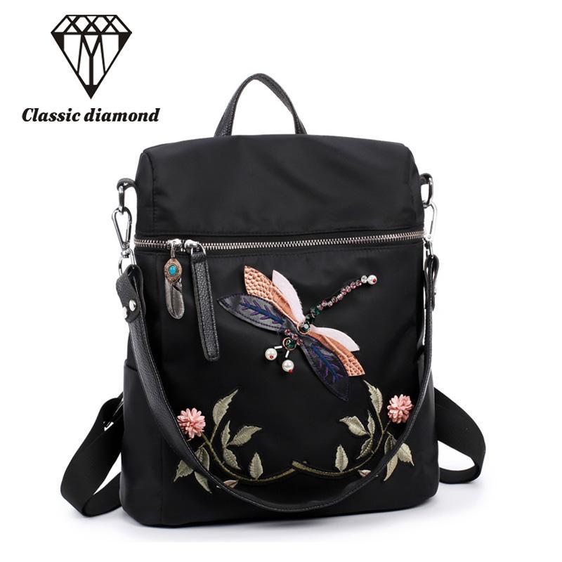 4075f673eba3 Dual Use Embroidery Women Small Backpack 2018 Fashion Waterproof Nylon Shoulder  Bag Floral Travel School Bag For Teenage Girls School Bags Messenger Bags  ...