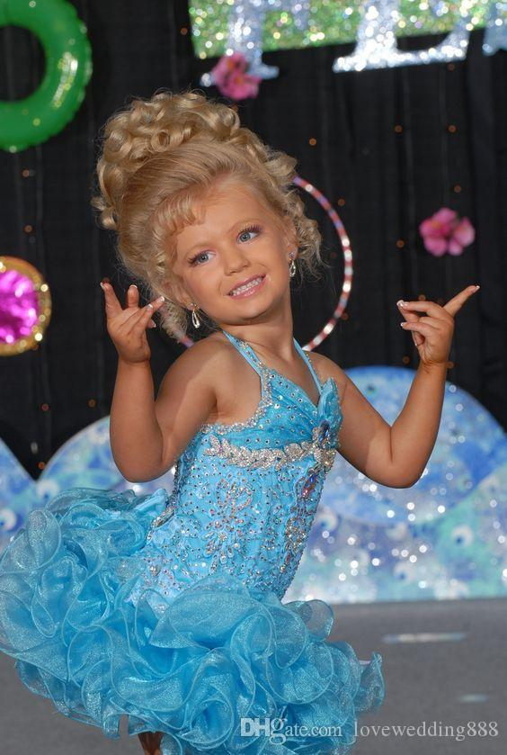 Light Sky Blue Short Glitz Little Girls Pageant Dresses for teens Infant Beads Crystal Toddler Kids Ritzee Cupcake Ball Gowns