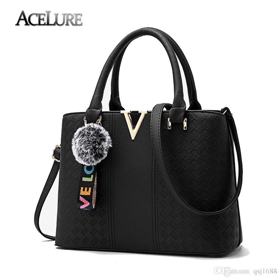 72b35d3bdd ACELURE Soft Leather Ladies Handbags 2018 Designer Female Shoulder Bag  Letter V Luxury Handbag Messenger Bags Fur Big Women Bag Handbag Sale Handbag  Brands ...