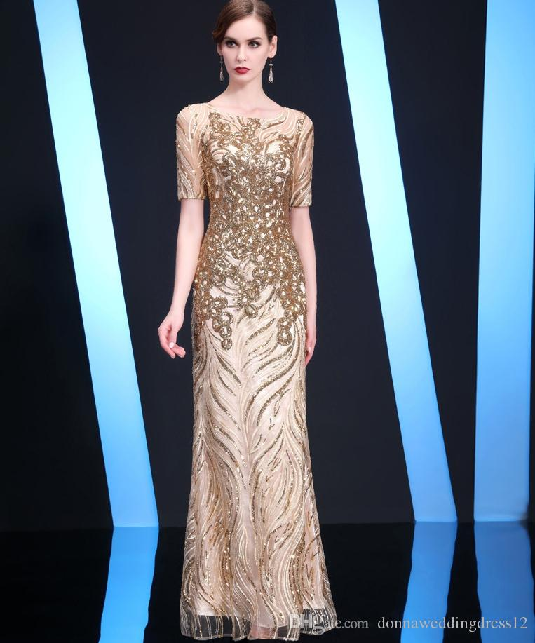 Vestidos De Noiva 2018 Hot Gold Bling Long Prom Dresses Dubai Short Sleeves  Evening Party Gowns Elegant Purple Sequins A Line Formal Dress Brown Prom  ... 16732d5ba1aa