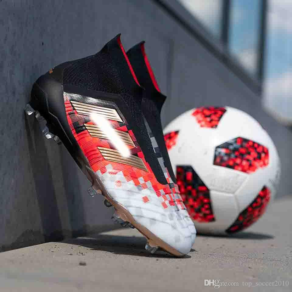 4198e154fcd3 2019 Original Youth Predator 18+ Pogba FG Football Boots Predator Telstar 18+  Mens High Ankle Kids Soccer Cleats Outdoor Soccer Shoes Size 35 45 From ...