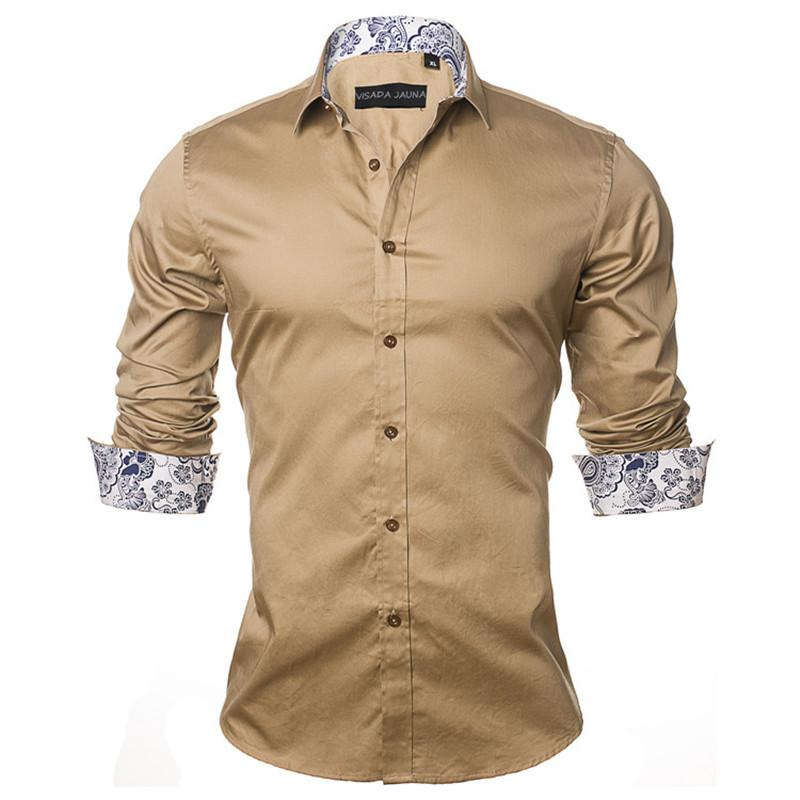 6fc978eaa6f Men  S Shirt Fashion Casual Style Long Sleeve Solid Cotton Slim Fit Dress  Male Shirts New Slim Fit Shirts Long Sleeve Shirts Cotton Fit Dress Shirt  Online ...