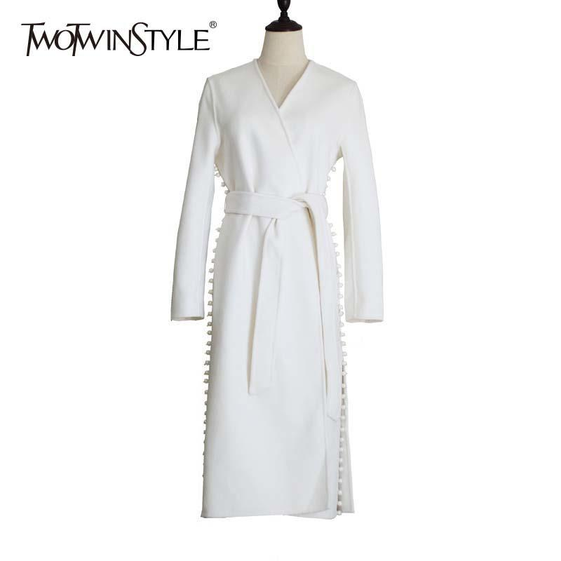 TWOTWINSTYLE Pearls Windbreaker Female V Neck Lace Up High Waist Split Midi Trench Coats Cardigan Spring 2018 Fashion OL Clothes