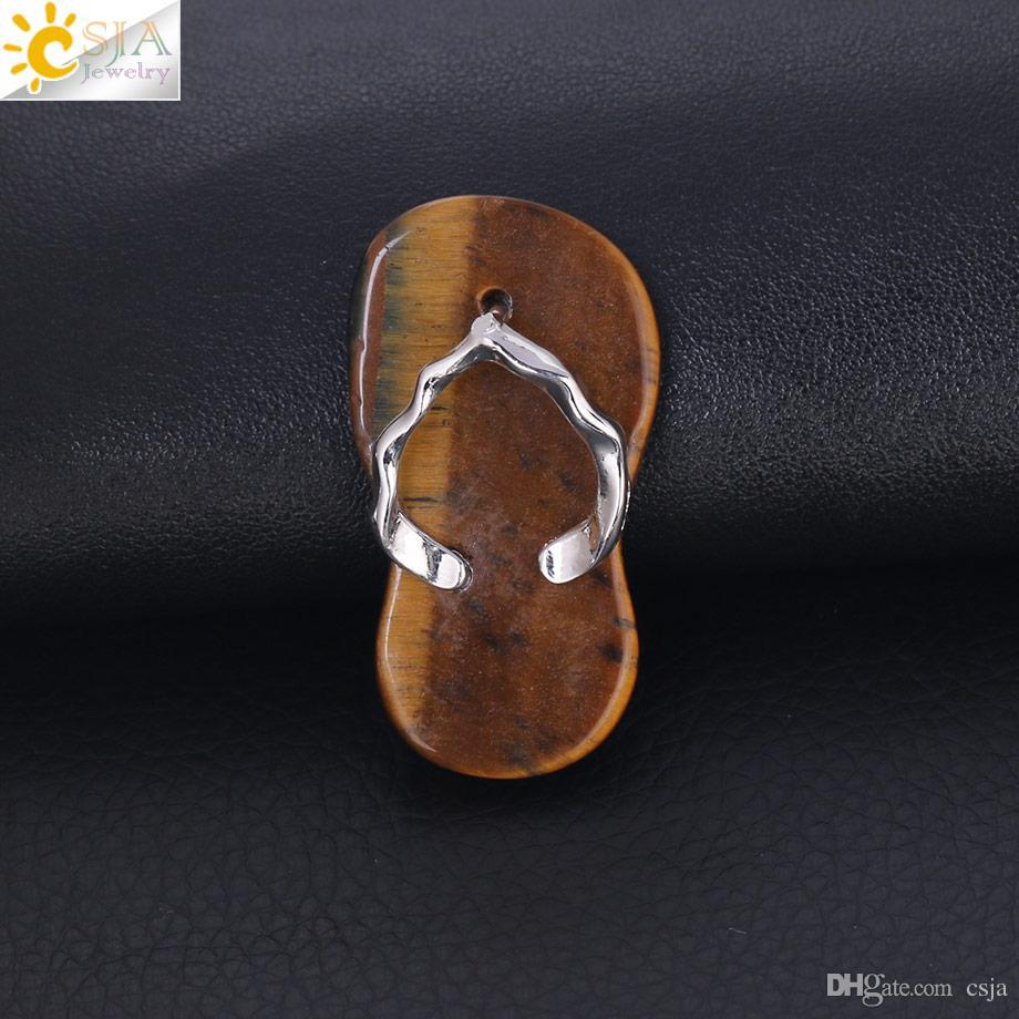 CSJA Ametist Kırmızı Oniks Kolye Kolye Güzel Flip Flop Ayakkabı Yaz Sandal Düz Boncuk Kolye Kız Erkek için El Yapımı Charm Takı F332 B