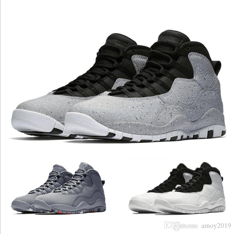 With Box 10s Cement I m Back Cool Grey 2018 Men Basketball Shoes Mens  Trainers 10 Sports Sneakers Size 40-47 10s Basketball Shoes 10s 10 Online  with ... 81f1f062c998
