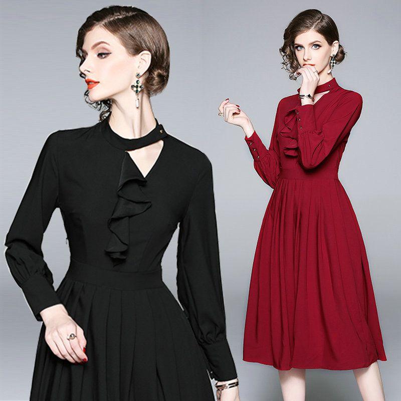 f525af12431b3 Compre Vestido De Manga Larga Plisada De Moda Para Las Mujeres Nuevo 2018  Otoño Vestido De Oscilación Grande Temperamento Negocios Delgado Vestidos  De ...