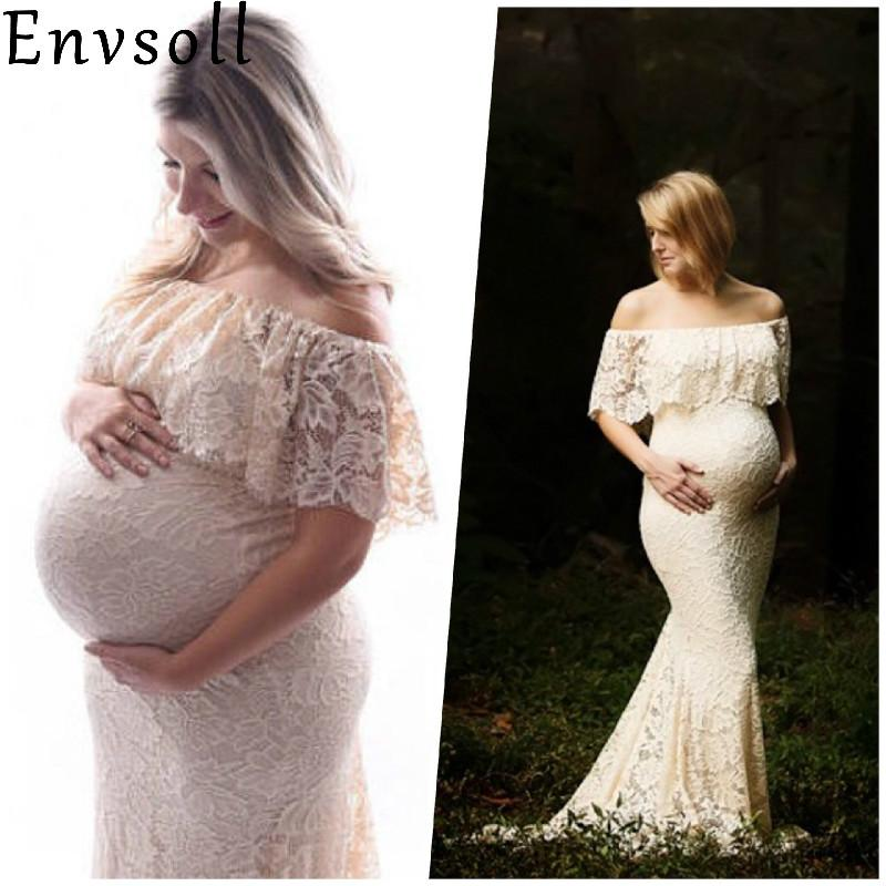 40e1561b6ce 2019 Envsoll Maternity Dresses For Photo Shooting Red Dress Maternity  Photography Props Maxi Dress Pregnancy Grown From Paradise02
