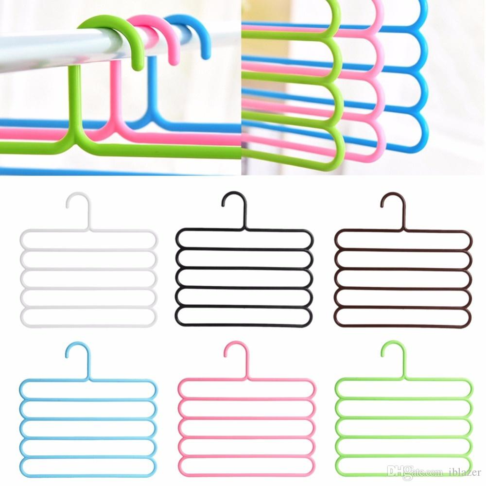 Pants Socks Trousers Tie Plastic Non-Slip Hangers Holders Clothes Towels Clothing Apparel Five layer Space Saving for Home Gifts