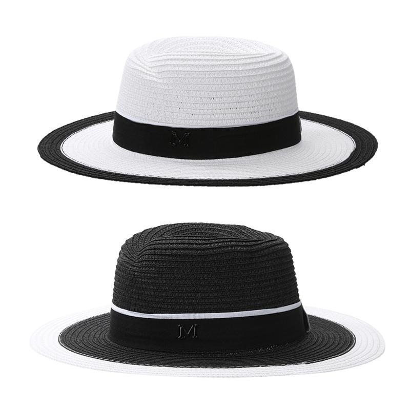 03a4a0347 Women European Fashion Sun Hat Straw Summer Hats England Punk Sunhat Black  and White