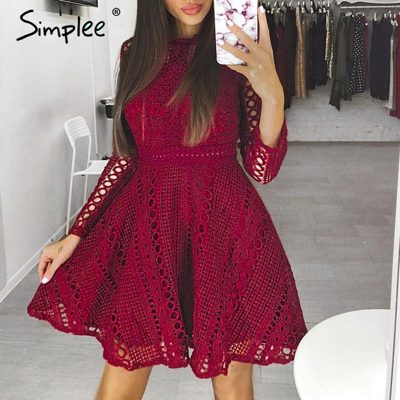33122577f7b84 2019 Simplee Sexy Water Soluble Lace Dress Elegant Long Sleeve Hollow Out  Women Dress Autumn Winter Party Robe Femme Ete 2018 From Topcoat, $40.8 |  DHgate.
