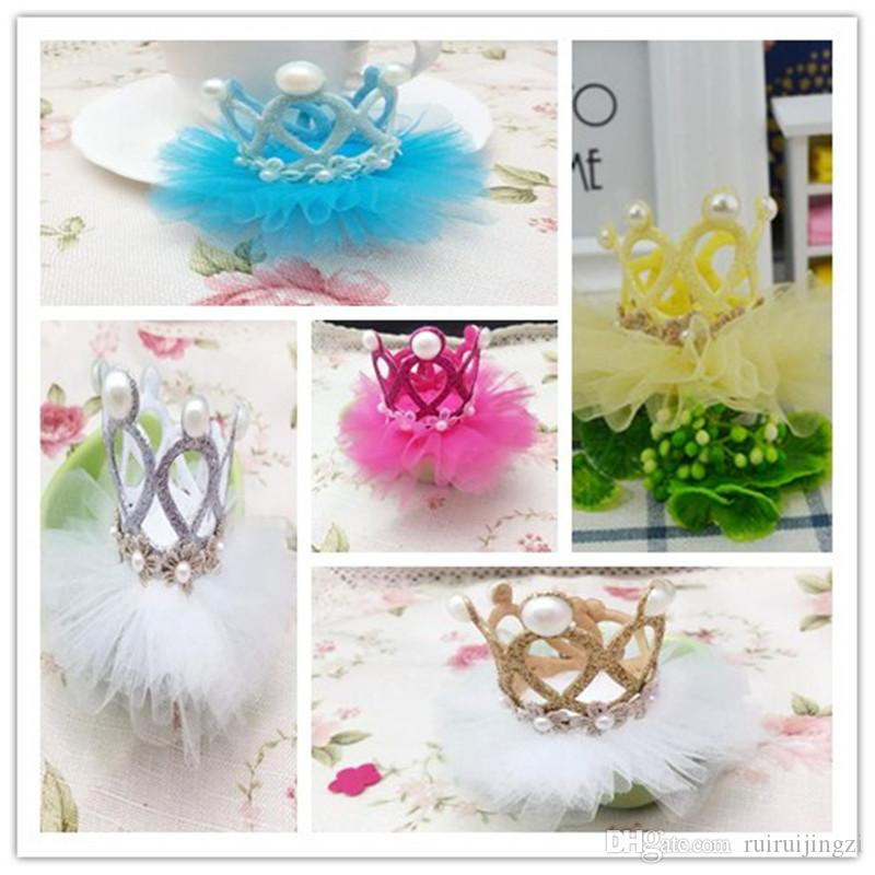 2018New Dog Grooming Lovely Princess Rhinestone Crown Clip Pet Dog Hair Decoration Elegant Hairpin 6color