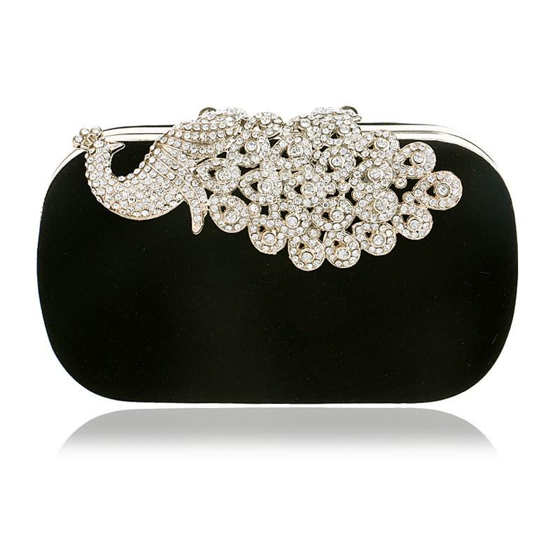 Luxury Evening Bags For Wedding Elegant Peacock Rhinestone Pattern Clutch Bags Women Day Clutches Purse Metal Chain Shoulder Bag Luggage & Bags