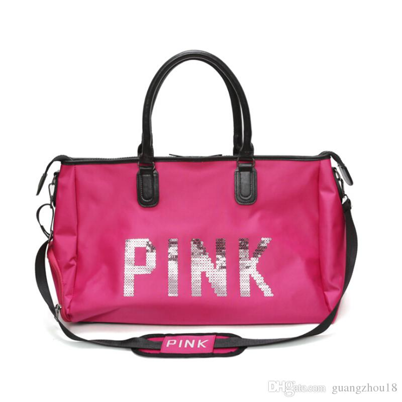 2018 Pink Letter Sequins Shoulder Bag Large Capacity Women Duffle ... 59c6f8cb07