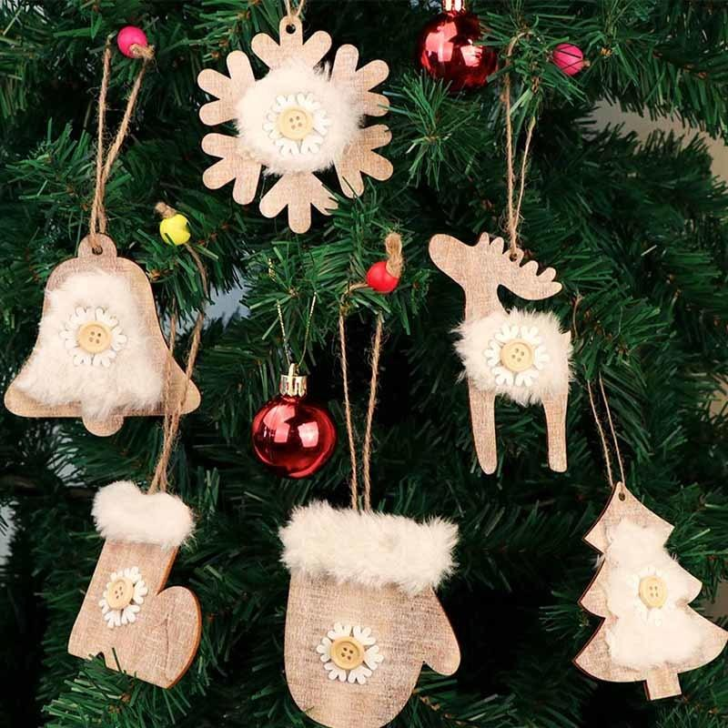 Ourwarm 6pcs 3d Faux Fur Wooden Christmas Ornaments Pendant Rustic Christmas Tree Decoration For Home New Year S Products Y18102909