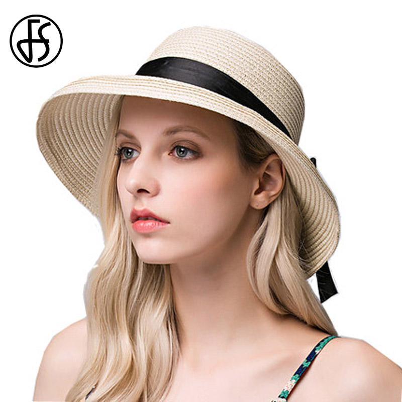 221d53a8f8e FS Beige Straw Hat For Women Summer Wide Brim Bow Decoration Floppy ...