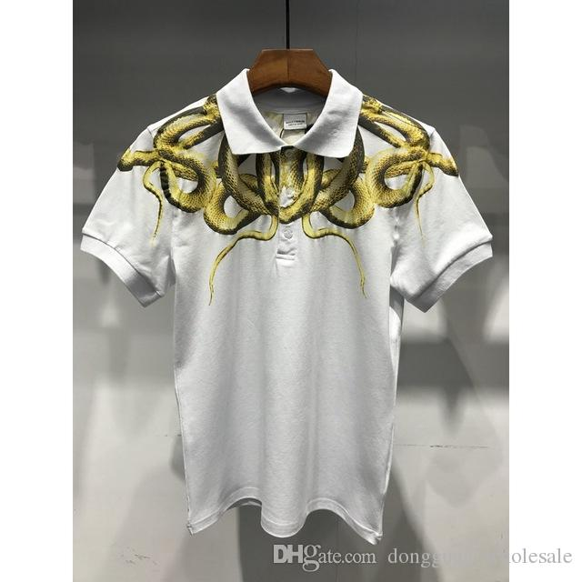 c4dacdf9 2019 MARCELO BURLON Snake Printed 2018 Cotton Polo Shirts Men Shirt Feather  Wings Top Quality Marcelo Burlon Polo Shirts Men From Dongguan_wholesale,  ...