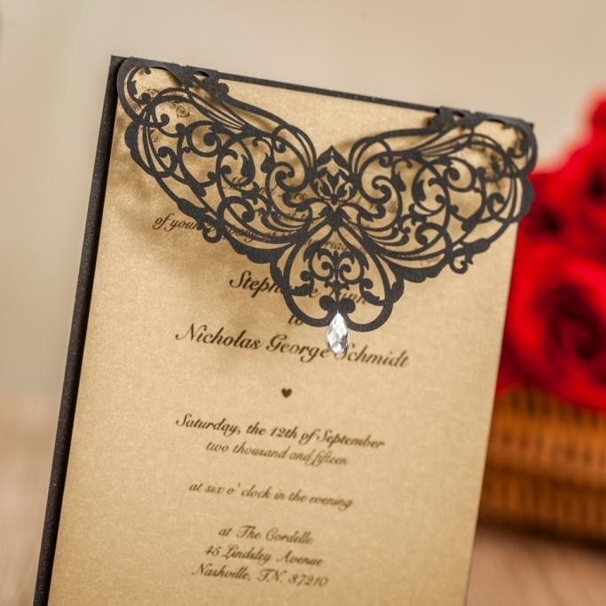 Wishmade Laser Cut Wedding Invitatons Kit With Rhinestone Black