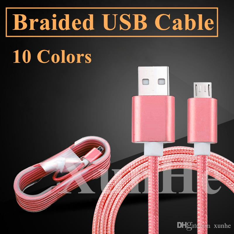 1.5M Nylon Braided Micro USB Cable Type C Cable Durable Metal Housing 5FT High Speed Charger Data Sync Cord for SmartPhone