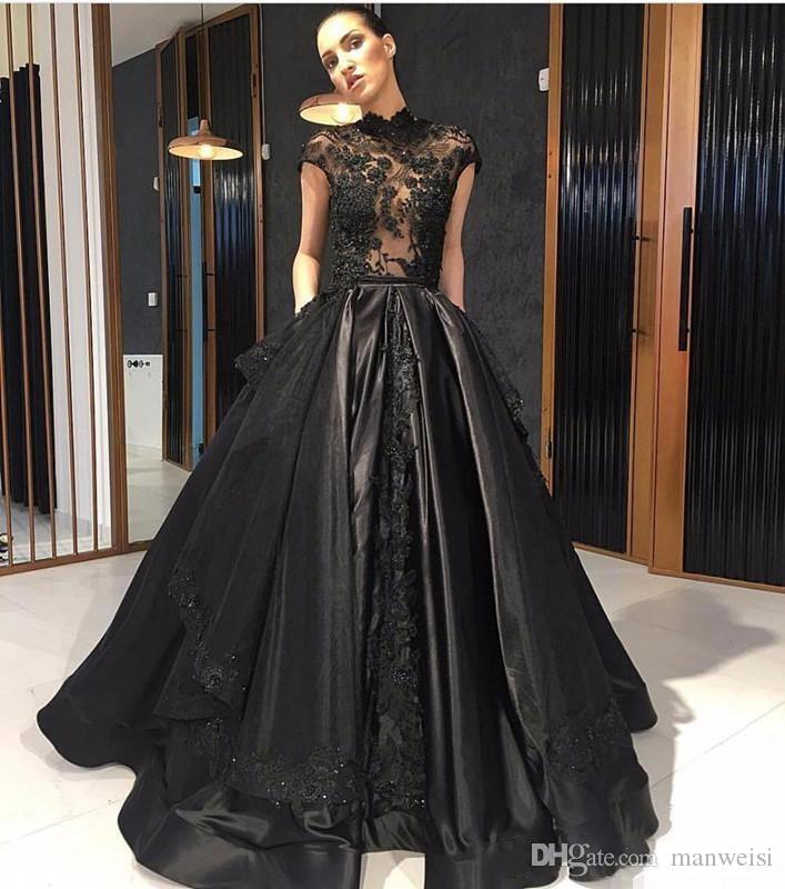 Elie Saab Black 2018 Prom Dresses Cap Sleeves Lace Appliqued Illusion Bodice Formal Evening Gowns High Neck Beads Party Dress
