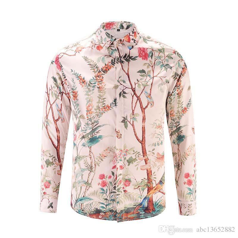 2018 nouveaux chemises de marque pour hommes look de défilé imprimer manches longues plus la taille 3d robe chemise designer luxe chemises vêtements pour hommes