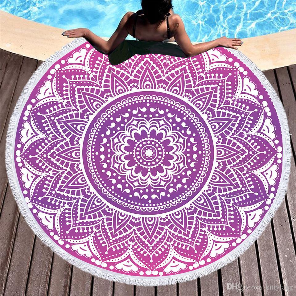 f76f543c37e2a Boho Mandala Round Beach Towel Pink Tassel Tapestry Girls Yoga Mat Bohemian  Flower Printed Toalla Blanket 150cm Hippy Tapestry Hipster Tapestries From  ...