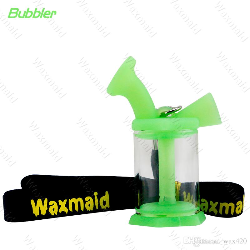 Bong Glass Bubbler Waxmaid Glass Blunt Mini Dab Rig Travel Smoking Tabaco Bubbler con cordón DHL Envío Gratis