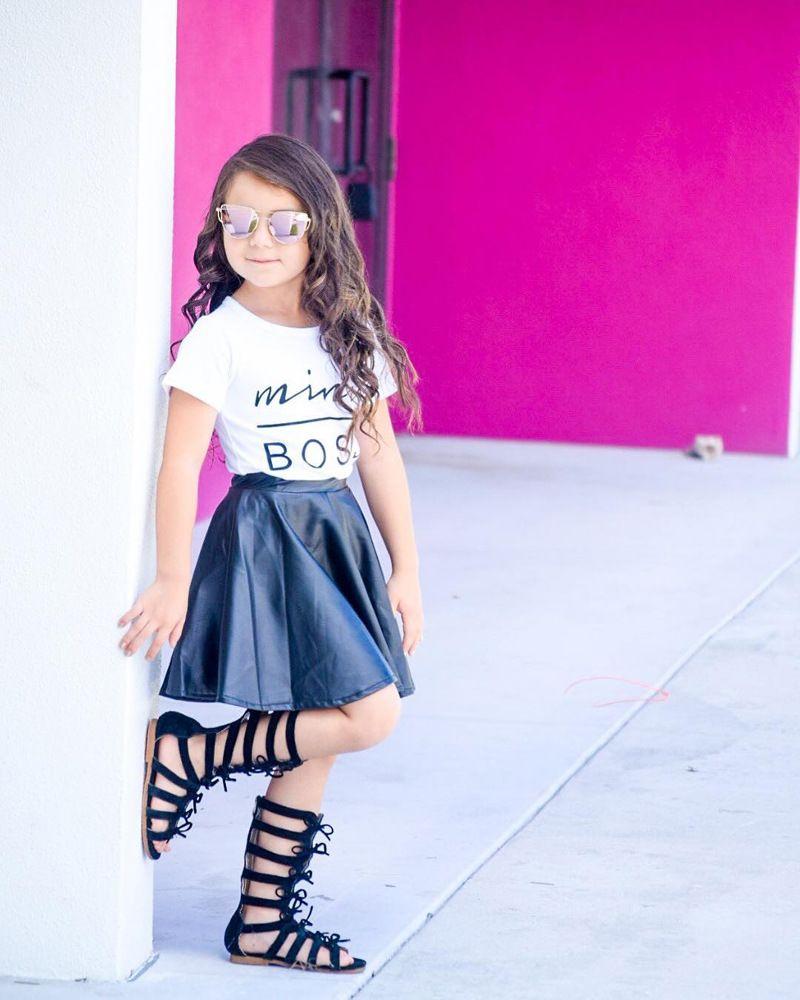 Baby girls outfits 2018 summer kids Boss letter T-shirt+PU skirt cotton Boutique children Clothing Sets H001