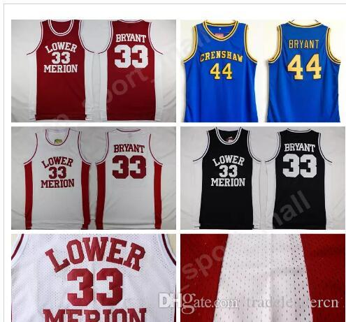 Lower Merion College 33 Kobe Bryant Jersey Men Red Black White Blue ... 28ea0a628