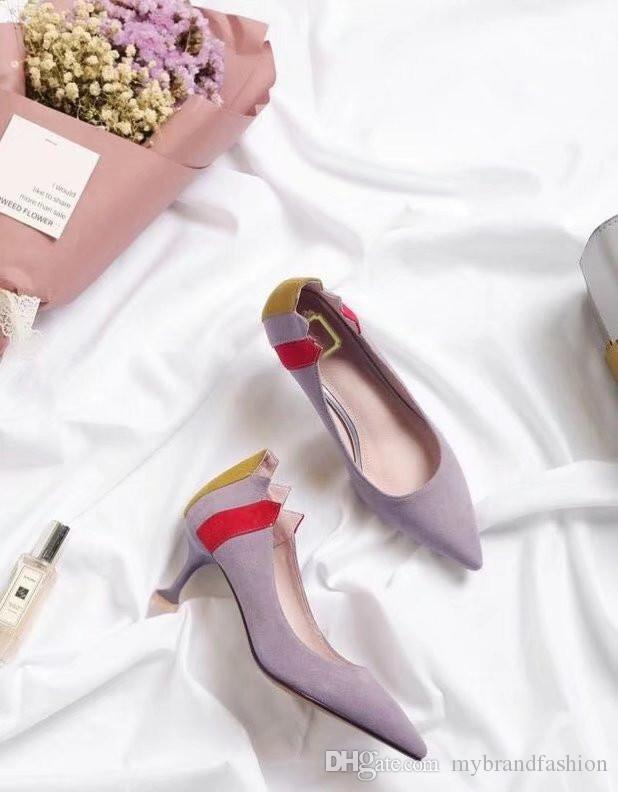 2018 Sıcak Bahar Yeni Lady Ayakkabı Süet Yüksek Topuklu Karışık Renk Sivri Burun Yüksek Kaliteli Orijinal Paketi Toz torbası + Kutu # 305D